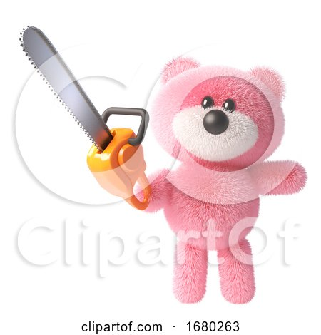 3d Teddy Bear Character with Pink Fluffy Fur Brandishing a Chainsaw, 3d Illustration by Steve Young