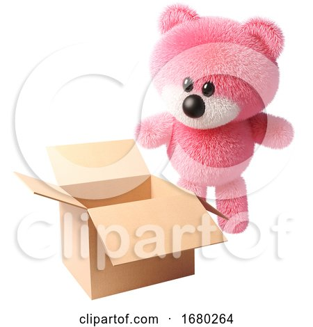 3d Cartoon Fluffy Pink Teddy Bear Character Looking at an Open Empty Box, 3d Illustration by Steve Young
