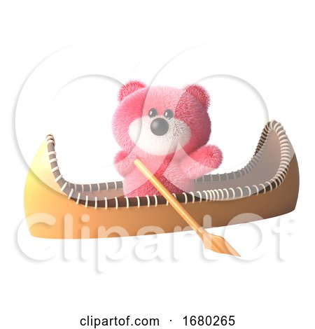 Pink Teddy Bear Fluffy Pink Cartoon 3d Character in a Kayak Canoe, 3d Illustration by Steve Young