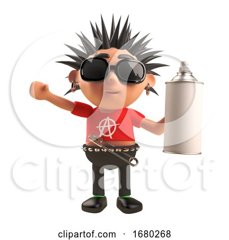 Cartoon 3d Punk Rocker Character with Spiky Hair Holding an Aerosol Spray Can, 3d Illustration by Steve Young