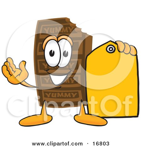 Clipart Picture of a Chocolate Candy Bar Mascot Cartoon Character Holding a Yellow Sales Price Tag  by Toons4Biz