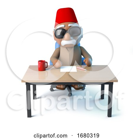 3d Moroccan Sits at His Desk by Steve Young
