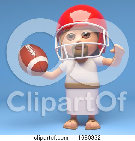 3d Cartoon Jesus Christ Character Playing American Football, 3d Illustration by Steve Young