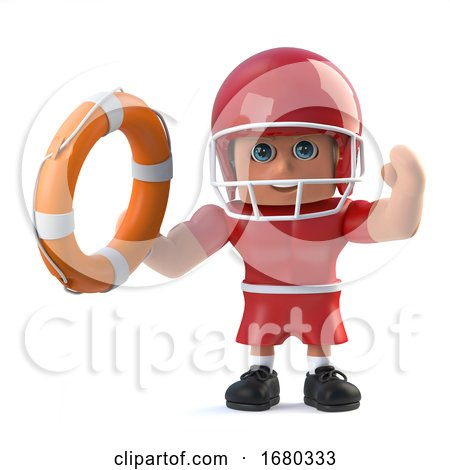 3d American Football Player Holds out a Life Ring. by Steve Young