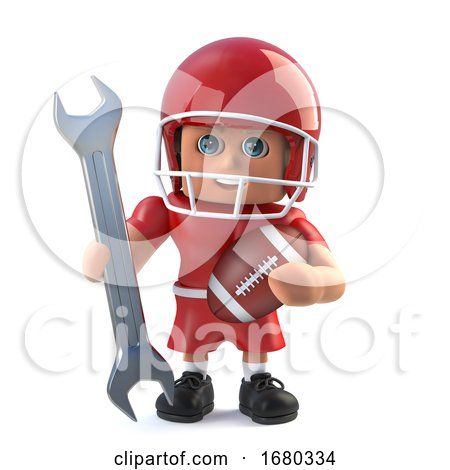 3d American Football Player Holding a Spanner by Steve Young