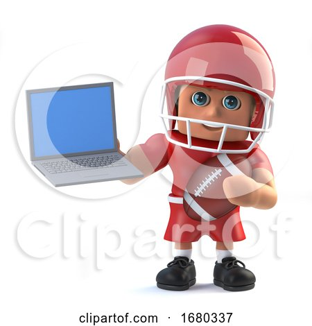 3d American Footballer Holding a Laptop Pc by Steve Young