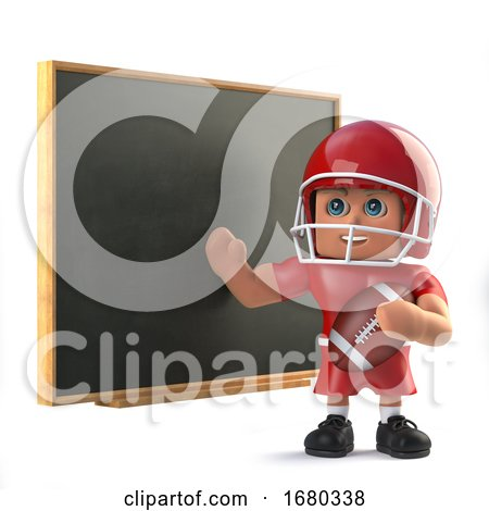 3d American Footballer Teaches at the Blackboard by Steve Young