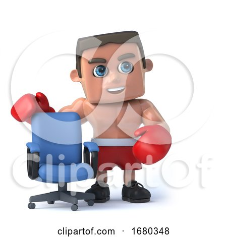 3d Boxer Has an Empty Office Chair by Steve Young