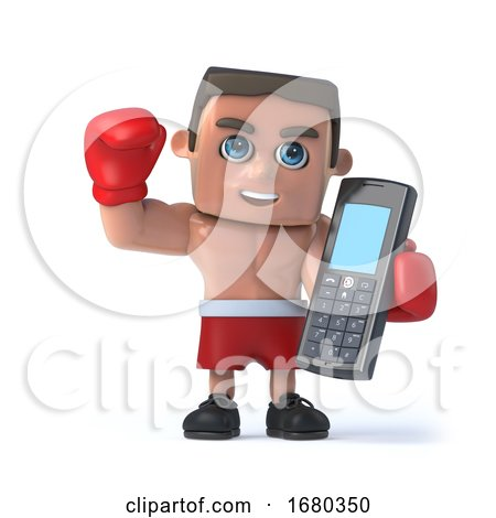 3d Boxer Makes a Call on His Cellphone by Steve Young