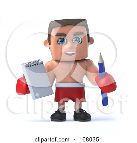 3d Boxer Takes Notes by Steve Young