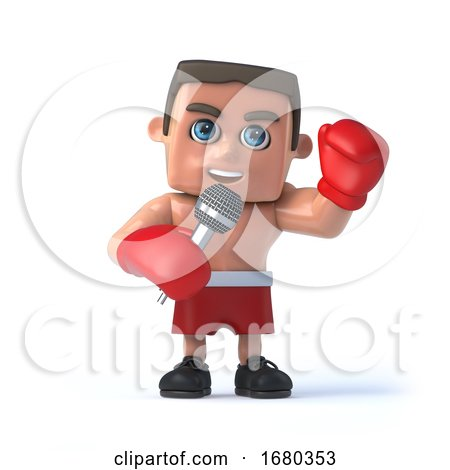 3d Boxer Is Using a Microphone by Steve Young