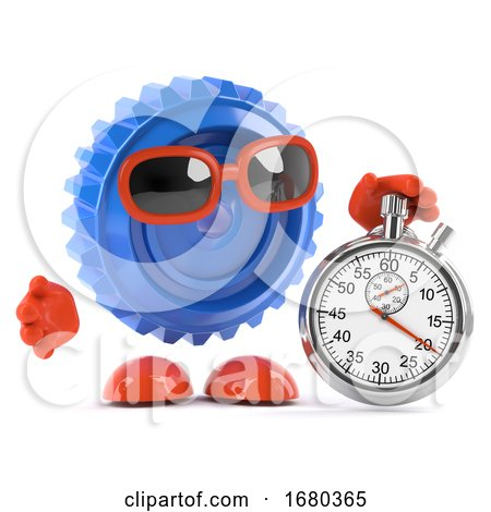 3d Plastic Cog with Stopwatch by Steve Young