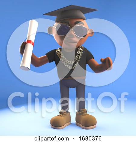 3d Cartoon Black Hiphop Rapper Emcee Character Matriculating with Mortar Board and Diploma Scroll, 3d Illustration by Steve Young