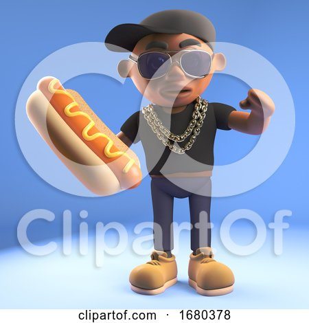 Black 3d Cartoon Hiphop Rapper Emcee Character Eating a Hotdog Hot Dog, 3d Illustration by Steve Young