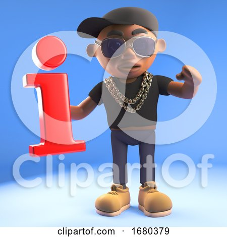 3d Black Hiphop Rapper Emcee Character Holding a Red Information Symbol, 3d Illustration by Steve Young