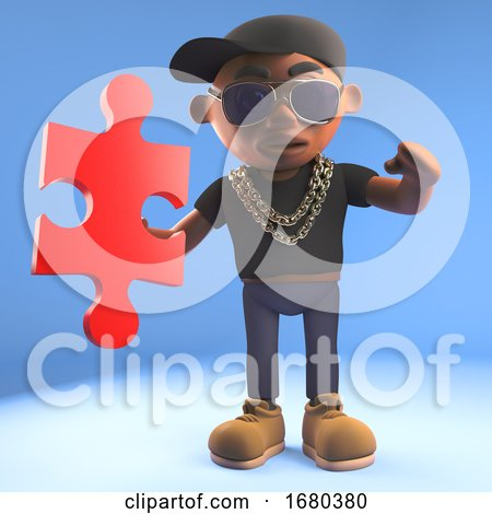 3d Cartoon Black Hiphop Rapper Emcee in Baseball Cap Holding a Piece of a Jigsaw Puzzle, 3d Illustration Posters, Art Prints
