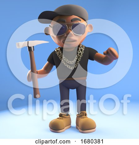 Cartoon 3d Black Hiphop Rapper Character Holding a Hammer, 3d Illustration by Steve Young