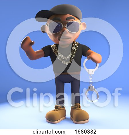 3d Cartoon Black Hiphop Rapper in Baseball Cap Holding a Pair of Handcuffs, 3d Illustration by Steve Young