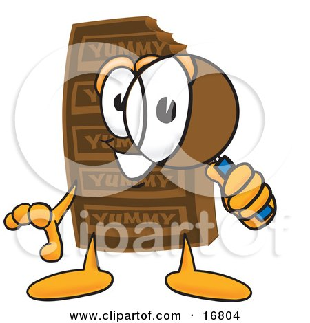 Clipart Picture of a Chocolate Candy Bar Mascot Cartoon Character Looking Through a Magnifying Glass by Toons4Biz