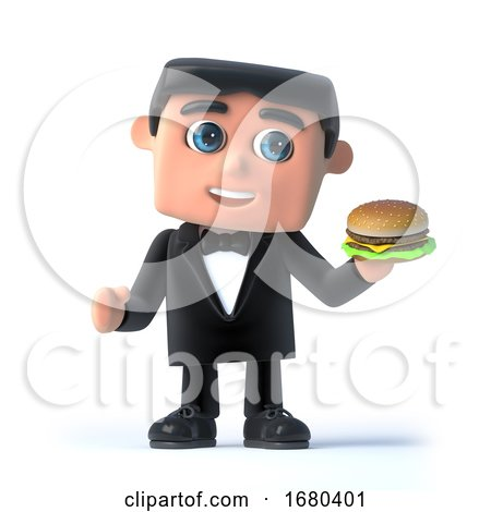 3d Bow Tie Spy Has a Burger by Steve Young