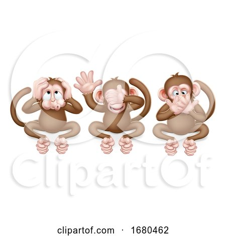 Monkeys See Hear Speak No Evil Cartoon Characters by AtStockIllustration