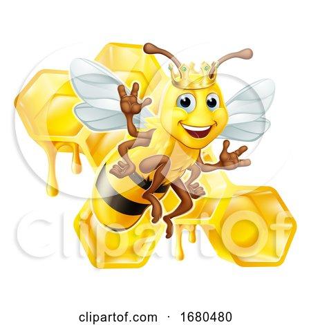 Queen Bumble Bee in Crown Honeycomb Cartoon by AtStockIllustration