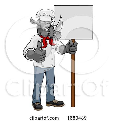Rhino Chef Cartoon Restaurant Mascot Sign by AtStockIllustration