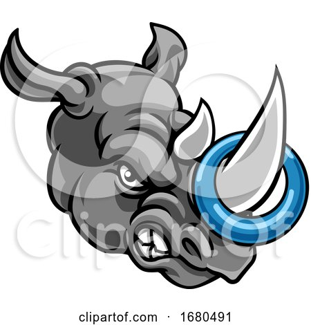 Tough Rhino Mascot with a Ringette on His Horn by AtStockIllustration