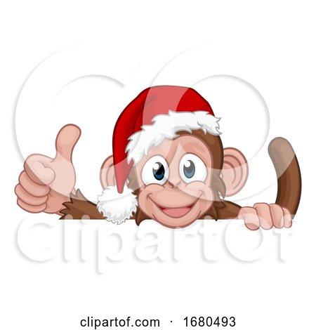 Christmas Monkey Cartoon Character in Santa Hat by AtStockIllustration