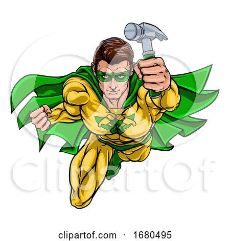 Super Carpenter Handyman Superhero Holding Hammer by AtStockIllustration