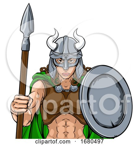 Viking Female Gladiator Warrior Woman Team Mascot by AtStockIllustration