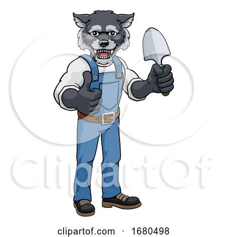 Wolf Gardener Gardening Animal Mascot by AtStockIllustration