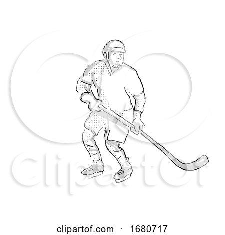Ice Hockey Player Cartoon Isolated by patrimonio