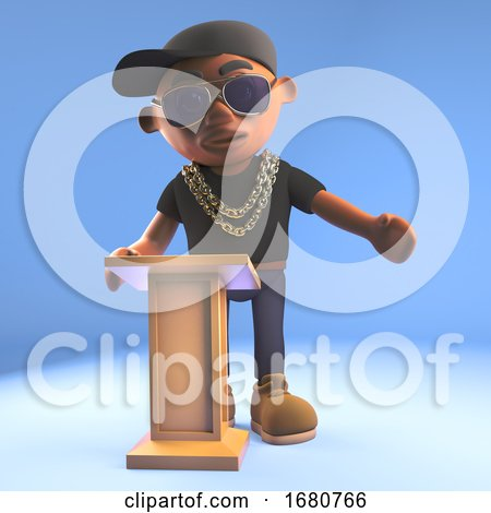 Cartoon 3d Black Hiphop Rapper Emcee Lecturing at the Lectern, 3d Illustration by Steve Young