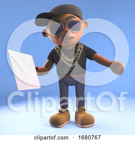 Cartoon 3d Black Hiphop Rapper Emcee Character Holding an Envelope Email Mail Message, 3d Illustration by Steve Young