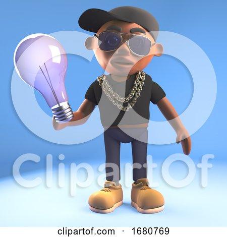 Cartoon 3d Black Hiphop Rapper Emcee Character Holding a Lightbulb, 3d Illustration by Steve Young