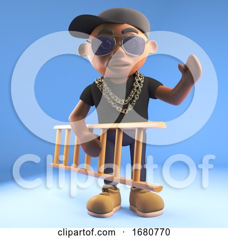 Cartoon 3d Black Hiphop Rapper Emcee Character Carrying a Ladder, 3d Illustration by Steve Young