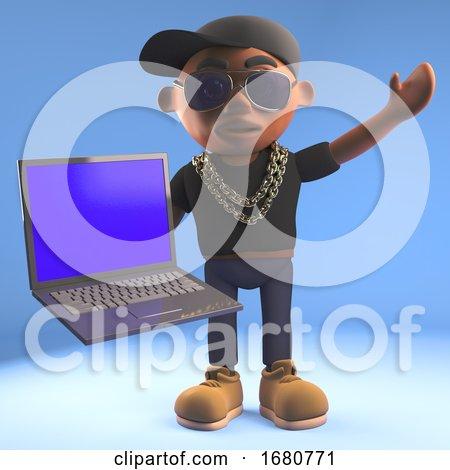 3d Cartoon Black Hiphop Rapper Emcee Holding a Laptop Pc Computer, 3d Illustration by Steve Young