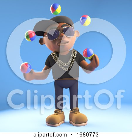 3d Cartoon Black Hiphop Rapper Emcee Character Juggling with Juggling Balls, 3d Illustration by Steve Young