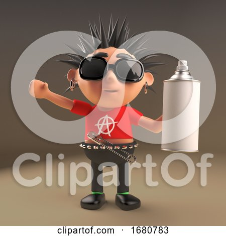 Spiky Haired Cartoon 3d Punk Rocker Teenager Character Holding an Aerosol Spray Can, 3d Illustration by Steve Young
