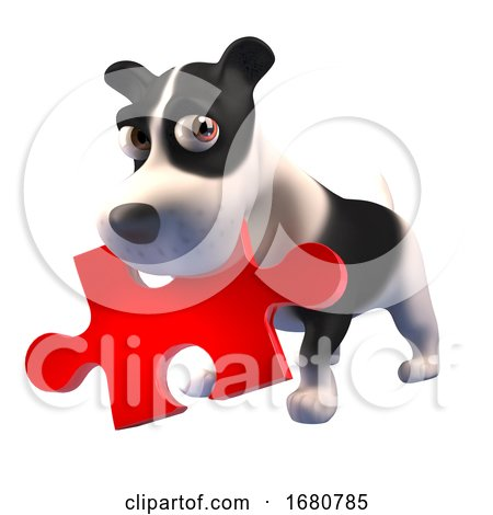 Cute 3d Puppy Dog Character Holding a Piece of a Jigsaw Puzzle in Its Mouth, 3d Illustration Posters, Art Prints