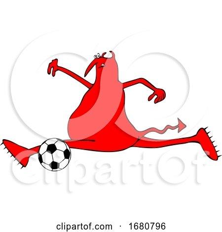 Cartoon Chubby Devil Playing Soccer by djart