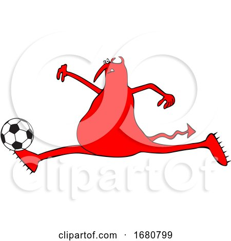 Cartoon Red Devil Playing Soccer by djart