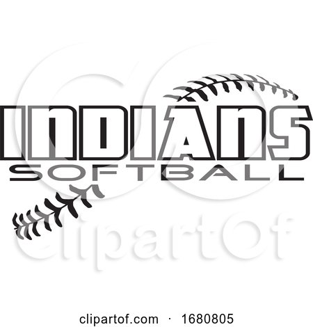 Black and White Indians Softball Text over Stitches by Johnny Sajem