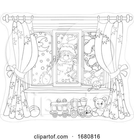 Santa Looking Through a Window by Alex Bannykh