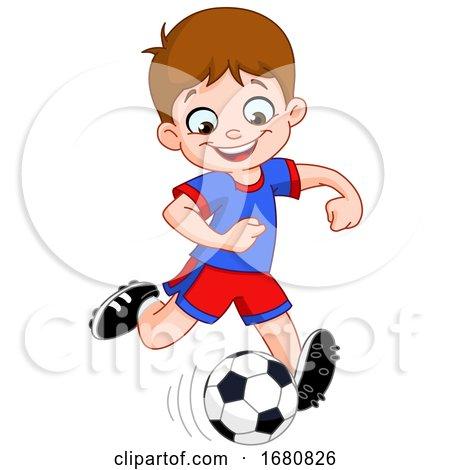 Cartoon Boy Playing Soccer by yayayoyo