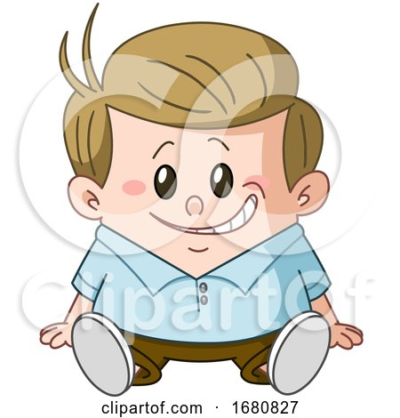 Cartoon Sandy Blond Caucasian Boy Sitting by yayayoyo