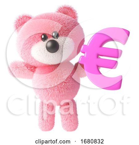 3d Cute Pink Fluffy Teddy Bear Soft Toy Character Holding a Pink Euro Currency Symbol, 3d Illustration by Steve Young