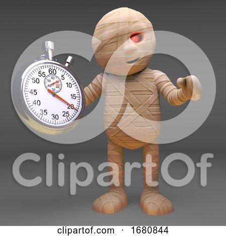 Halloween 3d Cartoon Egyptian Mummy Monster Holding a Stopwatch, 3d Illustration by Steve Young