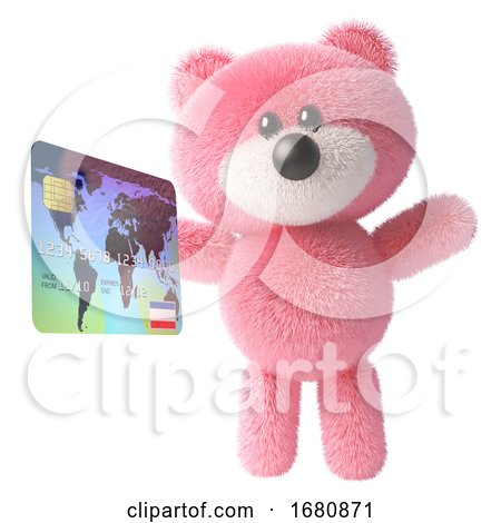 Pink Cute 3d Teddy Bear Soft Toy Character Holding a Credit Card Debit Card, 3d Illustration by Steve Young